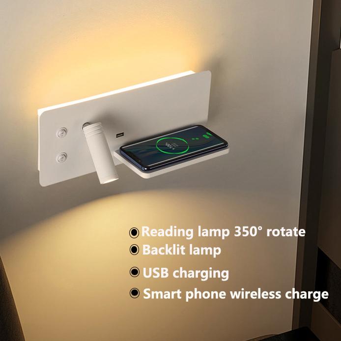 Wireless charging led wall lamp