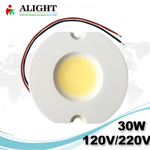 NEW 30W Driverless 0-100% Triac dimmable Soldering free AC COB