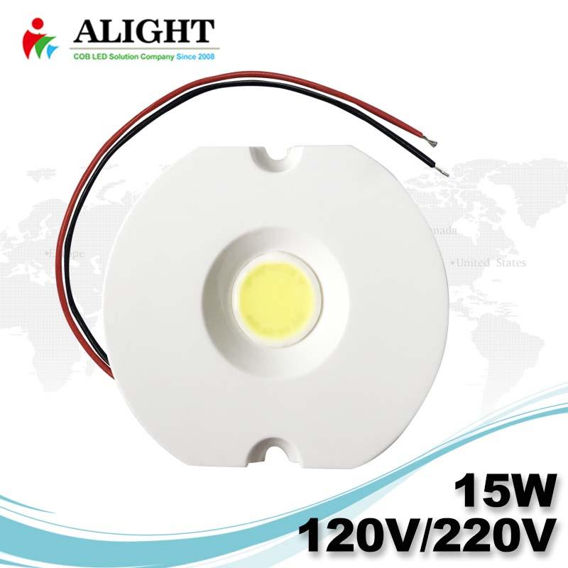 15W 120V / 220V 무인 0 ~ 100 % 트라이 액 디 밍이 납땜 무료 AC의 COB LED가