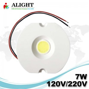 7W 120V / 220V Driverless 0-100% Triac Dimmable COB AC soudure sans LED
