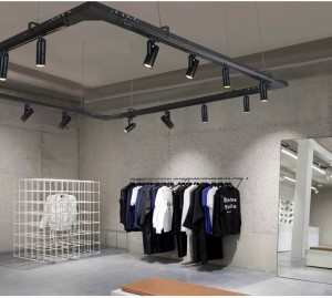 One of the application cases of Motorized Track Light: Fashion clothing brand store