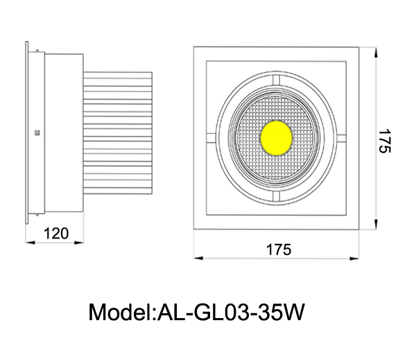 adjustable 35w cree led grille light cob spot light