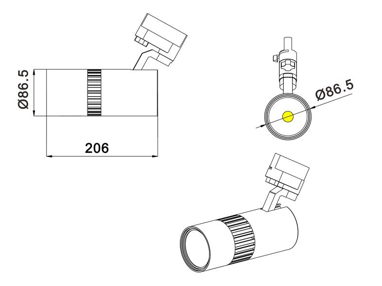 60w track light size